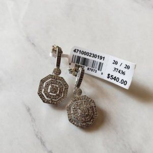 NWT Art Deco Diamond Earrings Post Dangle .25CT
